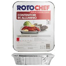 Confezione 2 Alluminio G / 1 Con Coperchio (8p) Contenitori Per Alimenti