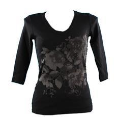 T-shirt Donna Manica 3/4 Nero S