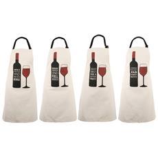 Loft Cheeky Little Wine Set Da 4 Grembiuli (taglia Unica) (crema)