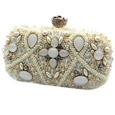 046b441fa1 MICHELLE MOON - Borsetta Donna Pochette Da Sera Clutch Con Perline Y4516  Bianco