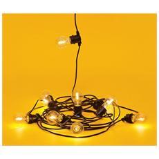 BELLA VISTA CLEAR Set 10 luci a LED da Giardino Cavo Nero
