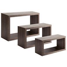 Tre Mensole Modello Trittico Di Dimensioni: Cm. 45x27, Cm. 40x22 E Cm. 36x17 Con Profondità Cm. 15,5 Noce
