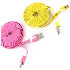 telefoni 2 cavi usb 'coloriage' rosa gialla (2m) - [ k9290]