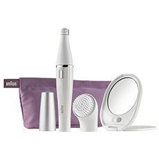 BRAUN - Face Premium Edition + Specchio Illuminato + Pochette 830 Epilatore Colore Bianco