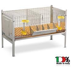 Gabbia per conigli completa conigliera doppia smontabile senza nidi 100x66xh66