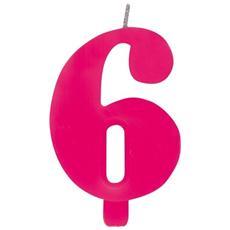 Candelina Numero 6 Scintillante Rosa