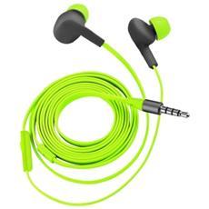 Aurus auricolare in-ear impermeabili con cavo piatto antigroviglio, ideale per gli sport all'aperto - lime green
