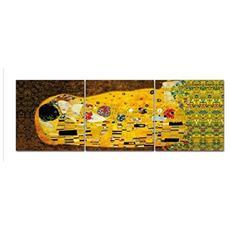 Quadro Moderno 50x150 Cm Astratto Tre Pezzi Separati Componibili Modello Trend Il Bacio Di Klimt