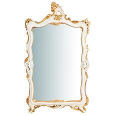 Specchiera Da Parete In Legno Finitura Foglia Avorio E Oro Anticato Made In Italy L66xpr5,5xh118 Cm