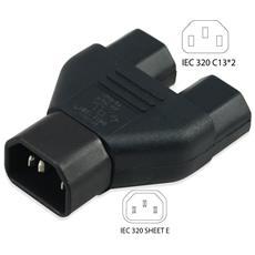 Connettore Splitter Vde C14 1m / 2f Iec 1m / 2f Iec60320 Iec 60320