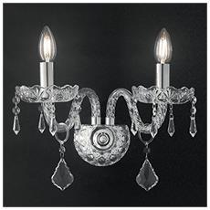 I-INCANTO / AP2 - Applique Vetro Cristallo Finiture Cromo Lampada da Parete Classica E14