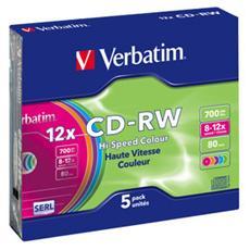 CD-RW DataLifePlus 8-10x 700MB Hi-Speed 5pz Slim Colours