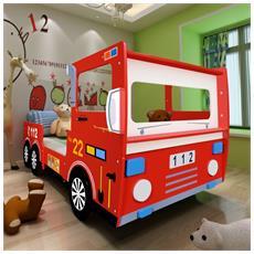 Lettino Per Bambini Macchina Dei Pompieri 200x90 Cm Rosso