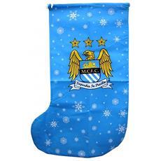 Calza Natalizia Con Stemma Manchester City (taglia Unica) (blu Cielo)