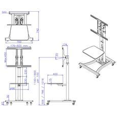 Plasma Mobile Stand Incl. Shelf 1.8mts High En
