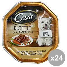 Set 24 150 Gr. Umido Patè Pollo-verdure Cibo Per Cani