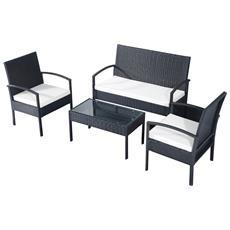 OUTSUNNY - Set da Giardino 1 Tavolino, 2 Poltrone 1 Divano Con Cuscini Colore Nero