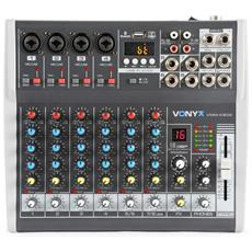 Mixer Audio 8 Ch. Karaoke Dj Studio Con Effetti Fx Bluetooth Usb Display