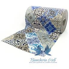 Tappeto Passatoia Antiscivolo Con Stampa Digitale Disegno Maiolica Blu 50x230 Maiolica Blu