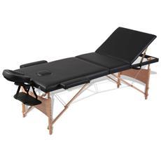 Lettino Pieghevole Da Massaggio Nero 3 Zone Con Telaio Legno