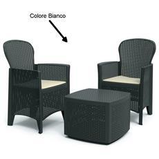 Set da Giardino 2 Poltrone 1 Tavolino Con Cuscino Bianco - Modello Tree RICONDIZIONATO