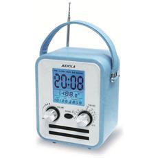 Wr772ax Azzurro Radio Sveglia Digitale In Pelle Allarme Ingresso Aux