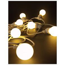 BELLA VISTA Set 10 luci a LED da Giardino Cavo Bianco