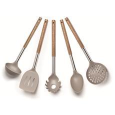 Set 5 utensili cucina manico acacia
