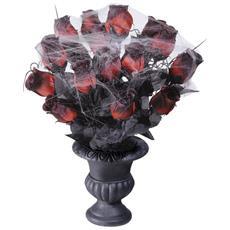 Bouquet Di Rose Rossa Halloween Con Ragnatela Taglia Unica