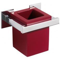 Porta Bicchiere Diva In Ottone Cromato E Vetrex Rosso Cod. va 4*