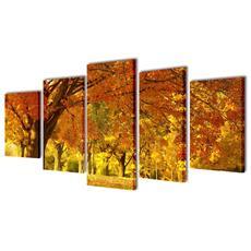 5 Pz Set Stampa Su Tela Da Muro Acero 200 X 100 Cm