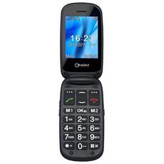 Facile TOP Nero Clamshell GSM Dual-Band Display interno 2.4'' esterno 1.44'' tasto SOS +Slot MicroSD Fotocamera Bluetooth Radio FM - Italia
