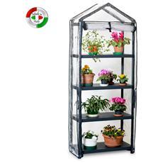 Serra Giardino 4 ripiani per piante fiori da terrazzo e balcone 80x40x200 h
