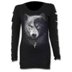 Wolf Chi Slashed Sleeve Boatneck Top (Top Donna Tg. L)