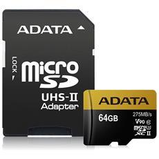 Scheda di Memoria Micro SDXC UHS-II Capacità 64 GB Classe 10 Velocità 275 MB / s