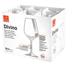 Confezione 6 Calici In Vetro Divino Vini Bianchi Cl44.5