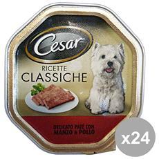 Set 24 150 Gr. Umido Patè Manzo-pollo Cibo Per Cani