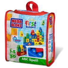 - First Builders - Sacca Costruisci E Impara 30 Pz - L'Alfabeto