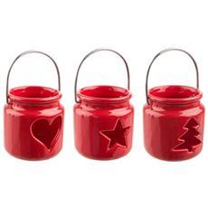 Lanterna Basic Rosso In Ceramica Cm. 8,7x7x7 H
