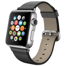 Cinturino WristBand in vera pelle per Apple Watch da 42mm - Nero