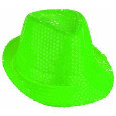Cappello Borsalino Paillettes Verde Neon Fluo Spettacolo Teatro Paillette Ballo Cappellino Raso Uomo Donna Slim