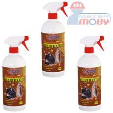 Repellente disabituante allontana anti ratti topi prodotto spray naturale 3x 1 lt