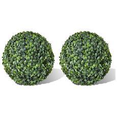 Set di 2 Sfere di Bosso Artificiale da 35 cm Colore Verde