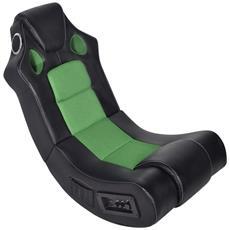 Sedia A Dondolo In Ecopelle Con Musica Bluetooth Nera E Verde