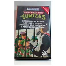 """Videocassetta Vhs - Ninja Turtles - Tartarughe Ninja - """"shredder Contro Splinter"""" - """"il Ritorno Di Shredder"""" - """"l'invasione Delle Rane Mutanti"""" - """"il Potere Dei Tre Frammenti"""""""