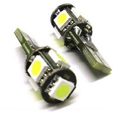 2 Lampadine 5 Led Smd T10 W5w 5050 Canbus Luce Posizione Targa Interni