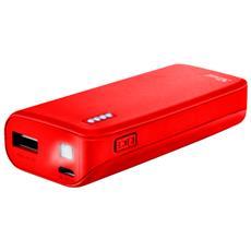 Primo Caricabatterie portatile con porta USB e batteria integrata da 4400 mAh - matte red