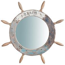 Specchio Da Parete A Forma Di Timone In Legno Massello Diam. 73xpr4 Cm