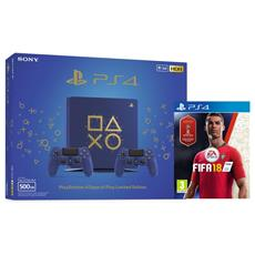 Console Playstation 4 PS4 500 Gb Slim + 2° Controller Dualshock 4 V2 Days of Play Limited Edition + FIFA 18 World Cup Edition Limited Bundle