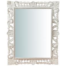 Specchiera Da Parete Verticale / orizzontale In Legno Finitura Bianca Anticata Made In Italy L70xpr3,5xh90 Cm
